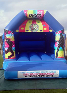 Picture of blue Velcro bouncy castle